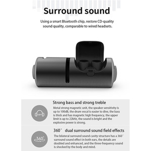 Twins Wireless Bluetooth TWS 4.2 Stereo Headset Sport Headphone In-Ear Earphones Earbuds TWS With 1200mA Charging Socket for Smartphone