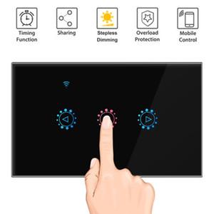 2019 HOT Vente Lumière tactile Smart Switch US standard 1 2 3 Gang Interruptor 110V wifi sans fil Ewelinkapp Télécommande Interrupteurs interrupteur mural