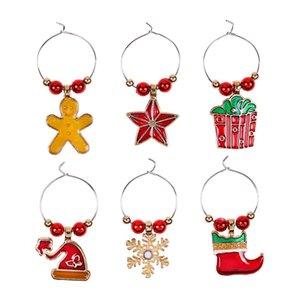 6Pcs Lot Christmas Wine Glass Decoration Charms Party Cup Ring Table Decorations Xmas Pendants Decoracion
