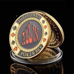 Чип покер игры Metal Poker Chip Guard Card Protector монет все в золото с гальваническим покрытием Круглый металлический корпус Craft Poker