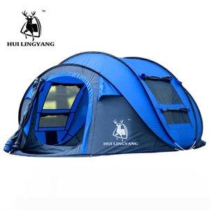 Grande lançamento tenda 3-4persons ao ar livre velocidades automática abrindo pop-up à prova de vento praia impermeável tenda de campismo grande espaço