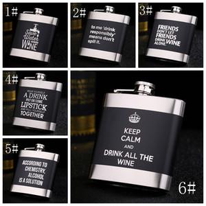 الليزر الإنجليزية رسالة الورك قارورة 6oz الأسود الفولاذ المقاوم للصدأ قارورة الورك المعدنية الخمور زجاجة زجاجات ويسكي ساحة الإبريق الكحول هدية VT0820