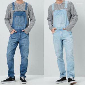 Uzun Erkek Pantolon ile Denim Tasarımcı Erkek tulumları Yüksek Bel Mavi Kargo Erkek Pantolon Moda Gevşek Cepler