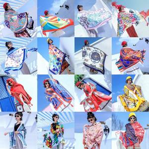 Toalla de playa de estilo étnico verano Bufanda impresa algodón de lino de protección solar de la bufanda de Bohemia toalla de playa 180 * 90cm