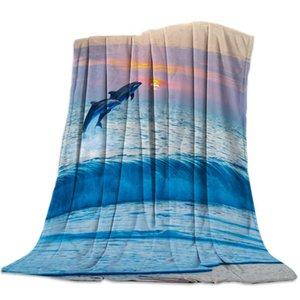 Cobertores blanket Golphin Sea ondas animal nuvem cenário clever oceano flanela macio lance sofá-cama