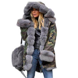 Women Plus Size Winter Warm Thick Long Jackets Coats Camouflage Hooded Overcoats Faux Fur Coats Female Tops