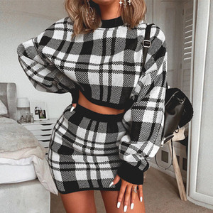 DEAT 2020 molla nero Plaid o collo manica lunga A pullover Minigonna Donne insieme a due pezzi Outfits MG175