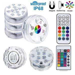 LED 잠수정 촛불 램프 (10 개) (13) LED를 원격 결혼식 생일 파티 장식에 대한 제어 RGB 꽃 꽃병 자료 방수 LED 조명