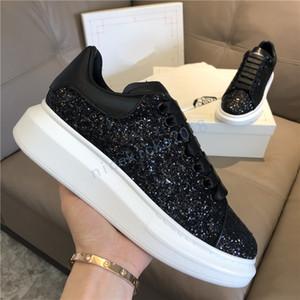 2019 NOUVEAU Chaussures Casual Femmes Hommes Hommes Daily Style de vie Skateboard Chaussures Trendy Plateforme Marche Formateurs Black Glitter Shinny
