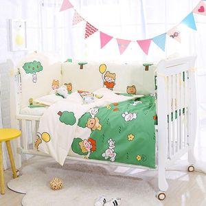 6pcs set Baby Bedding Set Cotton Cartoon Newborn Crib Bed Set Toddler Baby Duvet Cover Cot Bumpers Bed Sheet Girl Pillowcase