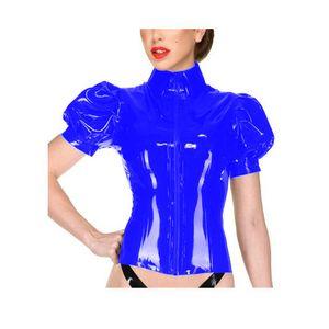 Plus Size Summer Zipper Front Puff Sleeve Tops Women Wet Look High Neck PVC Slim T-Shirt Nightclub Dancing Performance Costume