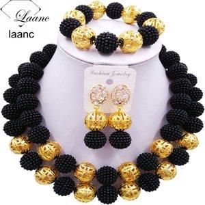 الخرز الزفاف Laanc الأزياء مقلد اللؤلؤة السوداء الأفريقية الزفاف النيجيري مجموعات مجوهرات 2CSZ008