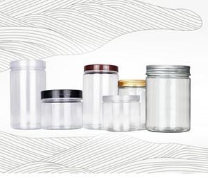 250ML 350ML شفافة البلاستيك الجرار الحيوانات الأليفة البلاستيك مع غطاء الألومنيوم واضح فارغة عينة مستحضرات التجميل جرة مع غطاء في المخزون