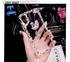 1PCS Luxury Shinning Diamond Swan Phone Cases For iPhone XR XS Max 8 7Plus Rhinestone Back Cover For Samsung S10 S10 lite