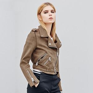 Alta calidad nuevo otoño Faux Suede para mujer chaqueta de la motocicleta femenina Faux Leather Jacket mujeres Biker Slim 7 Color PU Coat