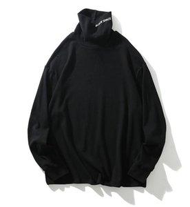 En laine mélangée à manches longues à col roulé T-shirt Hip Hop Relaxed 20SS Hauts Hommes Automne Streetwear