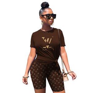 Plus size 2X Sommer Frauen braun Jogginganzug Shorts zweiteiliges Set-Designer Brief kurzes T-Shirt + capris Casual-Outfits sweatsuits 2923