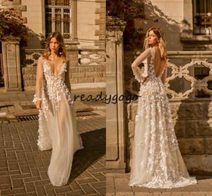 Muse by Berta 2020 robes de mariée modernes avec manches longues luxe 3D dentelle florale en plein air jardin princesse civile robe de mariée