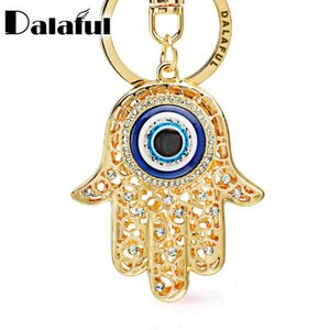 Lucky Hamsa Fatima Hand Eyes Keychains Charm Amulet Purse Bag Buckle Pendant For Car Keyrings key chains holder women K236