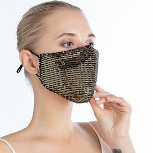 ¡En stock! Máscara de la moda de Bling Bling de las lentejuelas de protección a prueba de polvo PM2.5 boca Máscaras reutilizable lavable mujeres de la mascarilla puede insertar Filtrar