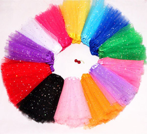 Kids Baby Star Glitter Dance Tutu Skirt For Girl Sequin 3 Layers Tulle Toddler Pettiskirt Children Chiffon 2-8T