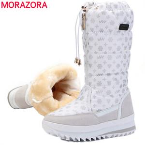 MORAZORA nova chegada de 2019 quentes de neve senhoras camurça couro meados bezerro à prova de água de pelúcia botas femininas sapatos inverno mulheres MX200508