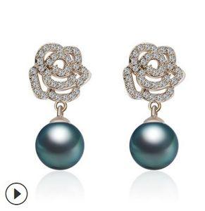 2paris / lots Art und Weise niedrig pirce hochwertigen Diamantkristall Perle Kamelie Ende maßgeschneiderte 925 earings Silber Dame 19,5