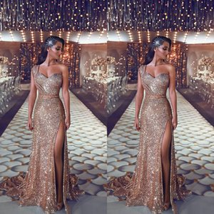 Vestidos de bainha de ouro de rosa 2019 elegante bainha Árabe Árabe Vestidos de festa de noite um ombro celebridade vestidos mulheres zipper volta longo barato