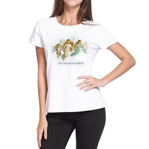 Summer Women's Fashion Large Size Loose Casual Fun T-Shirts Cartoon Letter Print Tops