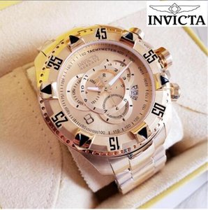 인증 INVICTA 브랜드 매우 큰 회전 다이얼 최고 품질 남성 시계 텅스텐 스틸 18K 골드 석영 작은 다이얼 장식을 볼