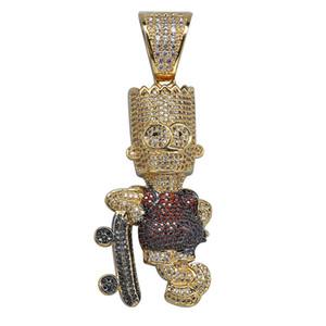 Iced Bart Simpson Skateboard Halskette Pendaant gefror heraus Zircon Gold-Silber überzogenes Mens Hip Hop Schmuck