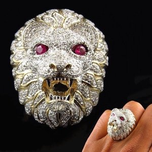Punk Domineering Lion Head Ring Gothic Iced Out Bling Golden Finger Ring Hombres Joyería Anillo Hombre Hip Hop Mens Anillos