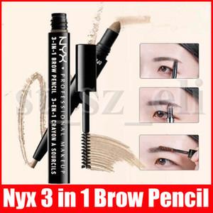 NYX 3 1 더블 헤드 자동으로 눈썹 연필 브러시 눈 화장 메이크업 도구를 사용하여 자연 아이 브로우 펜 눈 썹 전원을 오래 지속