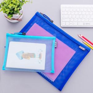 شفافة الملف الجيب المحفوظات أكياس شبكية ملف ماء مجلد حقيبة مصنفة التخزين طالب القرطاسية حقيبة زيبر الوثيقة BC BH1490