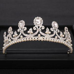 Trendy Wedding Crown Baroque Crystal Pearl Rhinestone Crown Wedding Hair Accessories Hair Band Bridal Crown Accessories Jewelry