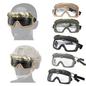Outdoor Paintball Schießen Gesichts-Schutzausrüstung Tactical Schnell Helm Flügelschiene seitliche Schiene Clip Buckle Berg Helm Brille NO02-107