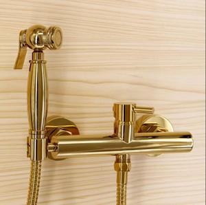 Moda bagno di alta qualità totale ottone dorato bidet set rubinetto, WC pistola set, lusso moderno bagno doccia rubinetto set