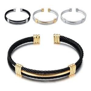 Titanium Steel Bracelets Jewelry Fashion Men Women Grade Quality Twist Stainless Steel Geometric Charm Bracelets Bangles