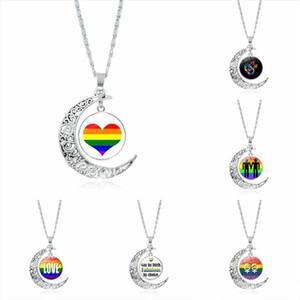 New arc-en-LGBT Gay Pride Lune Collier pour les femmes d'amour d'hommes Cabochon en verre chaînes Pendentif cadeau Bijoux Fashion
