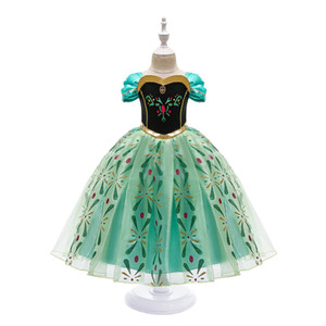 Princesa Dress for Girl Snow Queen 2 Manga Curta Snowflake Sash Cosplay Fantasia Fantasia Halloween Pageant Party Roupas Crianças Vestuário Verde