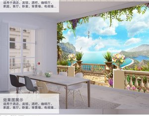 custom 3d photo wallpaper European three-dimensional sea sky landscape wallpapers background wall 3d wallpapers