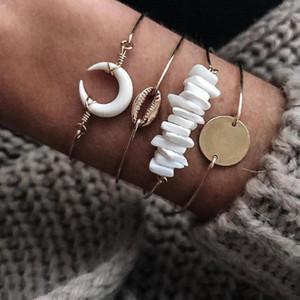 ALYXUY Bohême Shell Moon Stone alliage Bracelets Ensemble pour les femmes d'or couleur Ouvert Beach Party Mode Bracelet réglable Bijoux