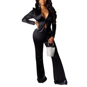 Seksi İnce Tasarımcı eşofman Kadınlar Katı Renk 2 Adet Geniş Bacak Pantolon Düğme V Yaka Uzun kollu Suit Ceket Moda Kadınlar Eşofmanlar