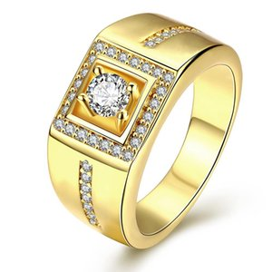 Gentleman Noble Yellow Gold Filled Cubic Zirconia Personality Geometric Mens Ring anel homens Taglia 8 9