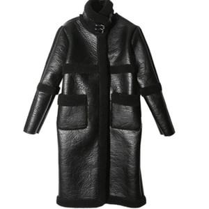 arlenesain echtes Schaffell weiches Leder Pelz lange Mantel Frauen