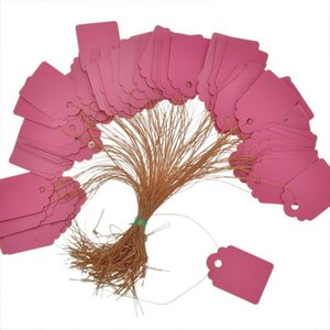 2019 New Price Tags 1 Packet (about 100PCs) Pink Plastic Tags Price Display Price Labels Pricing Tags With Strings 36x25mm