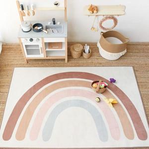Bebek Gökkuşağı Oynarken Paspaslar Çocuk Halı Kat Mat Tapete Karın Çocuk Playmat Gökkuşağı Yatak Odası Kilimler için Fiely Dekor Dekoru