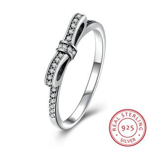 Reale S925 argento antico arco nodo anelli sottili Sparkling Bow con gli anelli di diamanti weddingm per le donne compatibili con Pandora gioielli di alta qualità