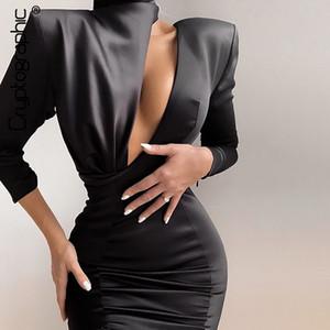 Şifreleme 2020 İlkbahar Yeni Moda Siyah Mini Elbise Kadınlar Seksi Kesikler Backless tarihi Night Party Kulübü Saten Eklenmiş Elbiseler