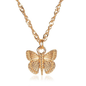 2020 New Vintage Gold Chain Butterfly Pendant Necklace Women Lady Wedding Necklaces for Valentine's Day Gifts
